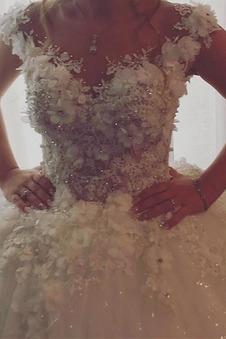 Abito da sposa Shiena Sheer Fiore Rosette Ornamento Naturale Raso