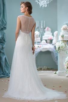 Abito da sposa Primavera Tulle Shiena Sheer decorato Perla Naturale