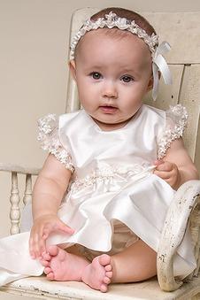 Abito cerimonia bambina Primavera Rosetta accentato decorato Applique Alta Coperta