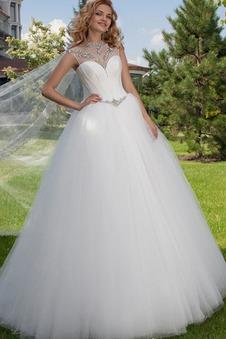 Abito da sposa Allacciato Ball Gown all'aperto decorato Bassa tessuto