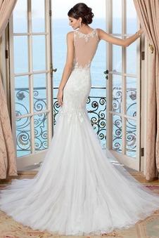 Abito da sposa Sirena Applique V-Scollo All Aperto Senza Maniche Autunno