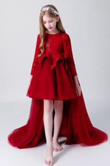 Abito cerimonia bambina Eleganti Alto Basso Asimmetrici Festoni Primavera Maniche Lunghe