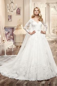 Abito da sposa Applique Mezza Coperta Ball Gown Maniche Lunghe Primavera