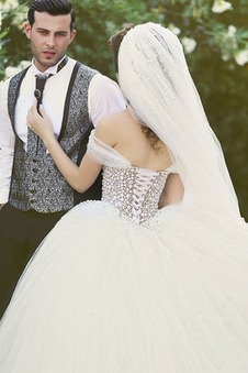 Abito da sposa Gonna lunga Naturale Ball Gown Tulle Illusione maniche