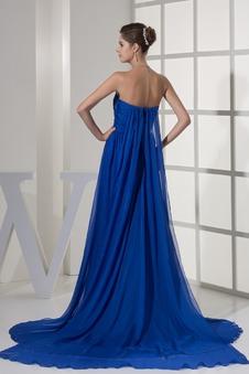 Vestito blu Semplici Chiffon Una linea pavimento lunghezza Non Specificato
