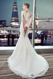 Abito da sposa Treno della corte Fuori dalla spalla Naturale Perline