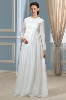 Abito da sposa Inverno Chiffon Cerniera gonna a vita alta gonna Impero