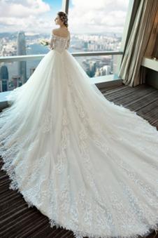 Abito da sposa A-Line Applique Lace Coperta Maniche Corte Collare di spalla Carta