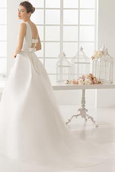 Abito da sposa Eleganti Fiocco Lungo Naturale Senza Maniche Raso