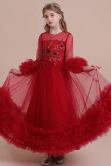 Abito cerimonia bambina Eleganti Cerniera tessuto Cascata Volant decorato Naturale