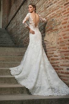 Abito da sposa Romantici Sirena Lungo Maniche a 3/4 all'aperto Pizzo francese