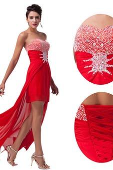 Abito da ballo Allacciato senza spalline Asimmetrico Naturale moda
