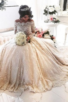 Abito da sposa Formale Clessidra Naturale Lungo Maniche Lunghe Lace Coperta