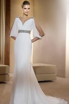 Abito da sposa Vintage all'aperto Mezza Coperta Scollo a v V Bianco