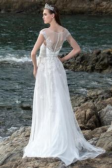 Abiti da sposa Spiaggia Romantici Maniche Corte Gonna lunga maniche ad aletta