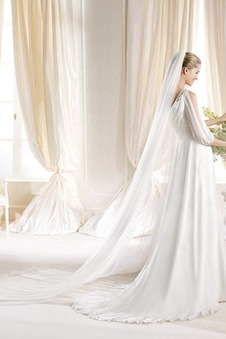 Abito da sposa Con Velo Mezza Coperta Naturale A-Line Chiffon all'aperto