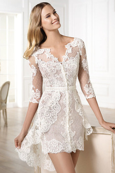 Abito da sposa Pizzo Naturale Mini gonna Scollo a v V Asimmetrico