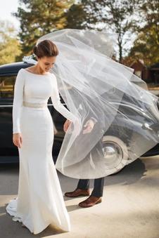 Abito da sposa Fuori dalla spalla Breve treno Naturale Perline Eleganti