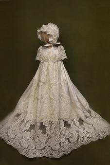 Abito cerimonia bambina Alta Coperta Principessa Pizzo Lungo Fiocco Pouf maniche