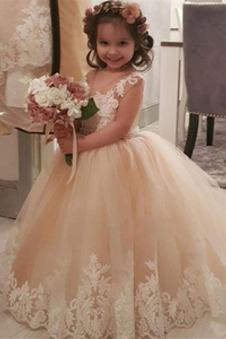 Abito cerimonia bambina A-Line Piccola t Lace Coperta Lungo Tulle stravagante
