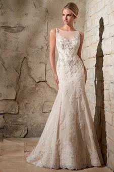 47d579ebd8c2 Abito da sposa moda Gonna lunga Senza Maniche all aperto Pizzo Applique ...