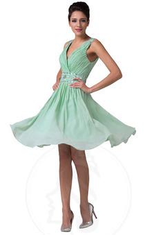 Vestito ritorno scuola a linea Primavera Eleganti V-Scollo Naturale sarsenet