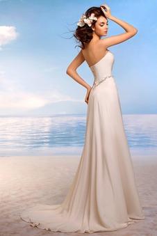 Abito da sposa Gonna lunga Spiaggia Chiffon a linea Senza Maniche