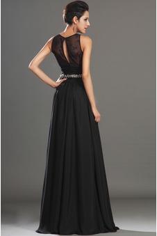 Vestito nero pizzo Bassa decorato Vedere Senza Maniche Fessura coscia