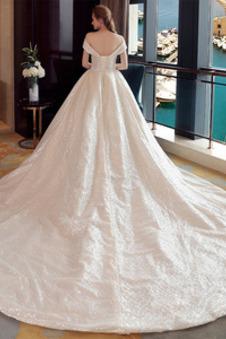 Abito da sposa Inverno Naturale paillettes Lungo Colorato A-Line