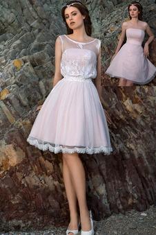 Abito da sposa Pizzo Senza Maniche Mezza Coperta Casuale Estate Ball Gown