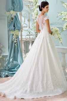 Abito da sposa Pizzo Naturale T luce Shiena Sheer Ball Gown Applique