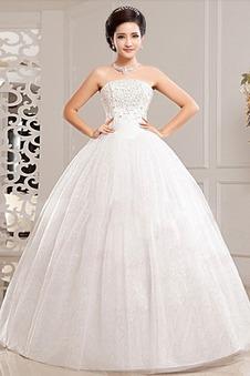 8929741a402b Abito da sposa Primavera Chiesa Basque Vita senza spalline Lungo Ball Gown  ...