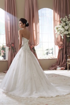Vestiti da sposa senza spalline Pizzo francese Applique A-Line Chiesa