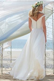 Abito da sposa Romantici Spiaggia Lungo Bottone Naturale Senza schienale
