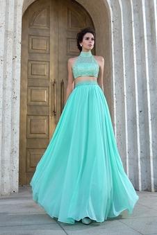 Abito da ballo sarsenet Perline Corpetto ingioiellato Naturale moda