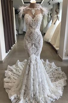 Abito da sposa unbacked Lace Coperta Tromba decorato abbondante bordo tornito