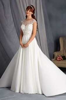 Abito da sposa A-Line decorato Naturale Applique Gonna lunga inobtrusive