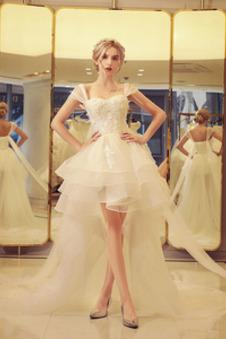 Abito da sposa Cerniera Asimmetrici eleganza Organza Farfalla Ornamento