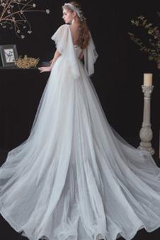 Abito da sposa A-Line Quadrato tessuto Allacciato stravagante Naturale