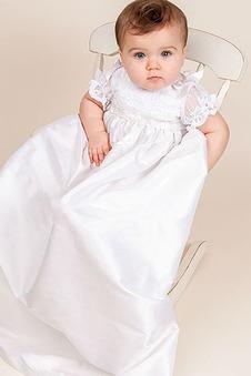 Abito cerimonia bambina Pudica Maniche Corte Alta Coperta A Terra Applique