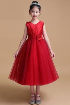 Abito cerimonia bambina A-Line Cerniera Non Specificato Eleganti Sotto Ginocchio