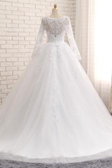Abito da sposa A-Line Illusione maniche Lace Coperta Modello diritto