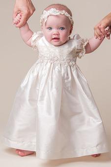 Abito cerimonia bambina Maniche Corte Applique Formale T luce Raso Alta Coperta