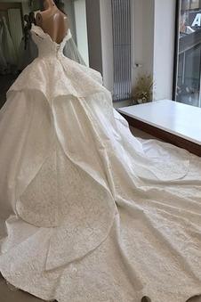 Abito da sposa Naturale Lusso Pizzo Overlay Maniche Corte Fuori dalla spalla