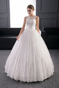 Abito da sposa Applique Allacciato Ball Gown Lungo Bateau Tulle