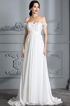 Abito da sposa Impero Eleganti Corpetto Pieghe Primavera Fuori dalla spalla
