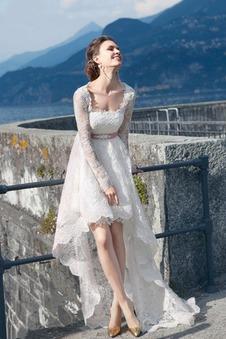 Abito da sposa Applique a linea Affascinante Maniche Lunghe Asimmetrici
