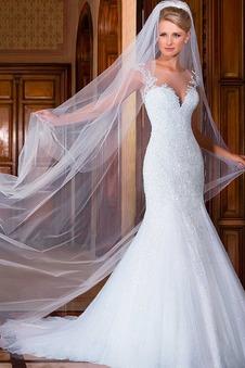 Abito da sposa bordo rialzato Cerniera moda Maniche Corte Sirena Lungo