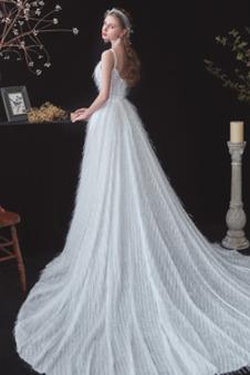 Abito da sposa moda Lungo Tulle Tassel Allacciato Naturale