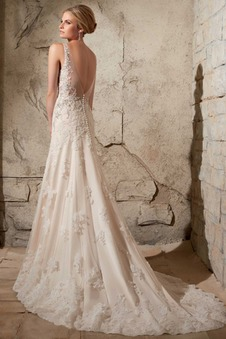 Abito da sposa moda Gonna lunga Senza Maniche all'aperto Pizzo Applique